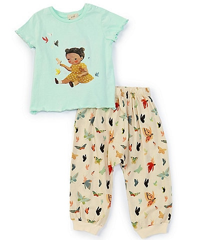 Peek Dream World x Peek Baby Girls 3-24 Months Short-Sleeve Graphic Tee & Butterfly Jogger Pant Set