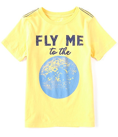 Peek Fly Me To The Moon Little/Big Boys 2T-12 Short-Sleeve Fly Me To The Moon Tee