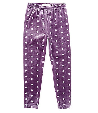 Peek Little/Big Girls 2T-12 Foiled-Dot Velour Leggings