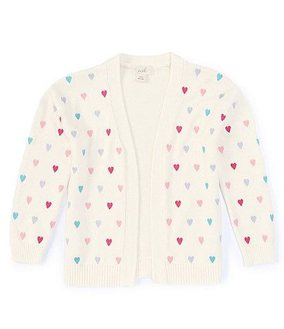Peek Little/Big Girls 2T-12 Long-Sleeve Embroidered All-Over Hearts Printed Cardigan