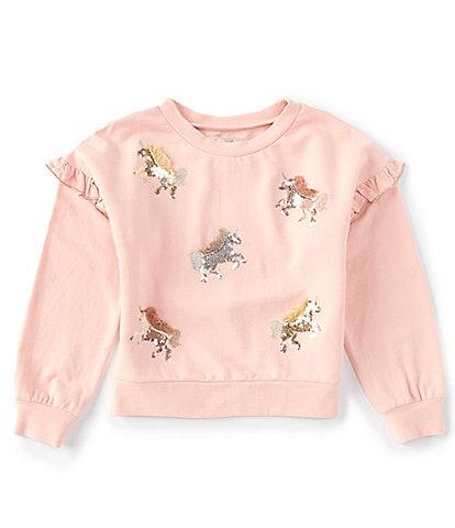 Peek Little/Big Girls 2T-12 Long-Sleeve Sequin Unicorns Sweatshirt
