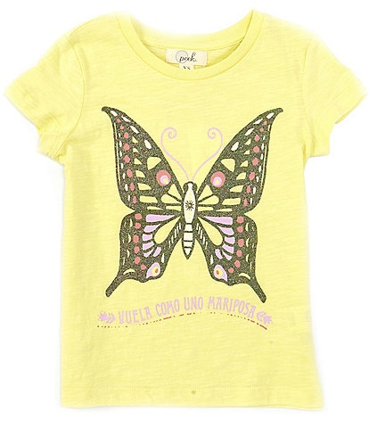 Peek Little/Big Girls 2T-12 Short-Sleeve Mariposa Metallic Butterfly Tee