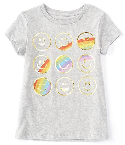 Peek Little/Big Girls 2T-12 Short-Sleeve Rainbow Smiley Faces Tee