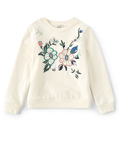 Peek Little/Big Girls 2T-14 Floral-Embroidered French Terry Sweater
