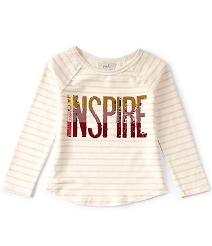 Peek Little/Big Girls 2T-14 Long-Sleeve Inspire Flip-Sequin Stripe Top