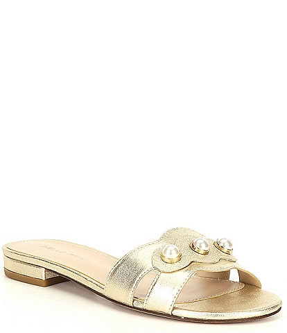 Pelle Moda Barton Metallic Suede Pearl Ornament Detail Dress Sandals