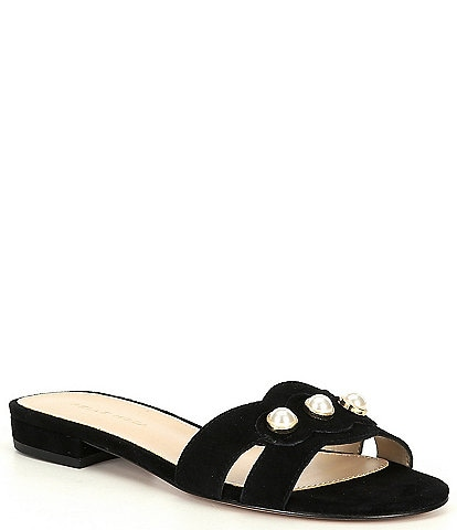 Pelle Moda Barton Suede Pearl Ornament Detail Dress Sandals
