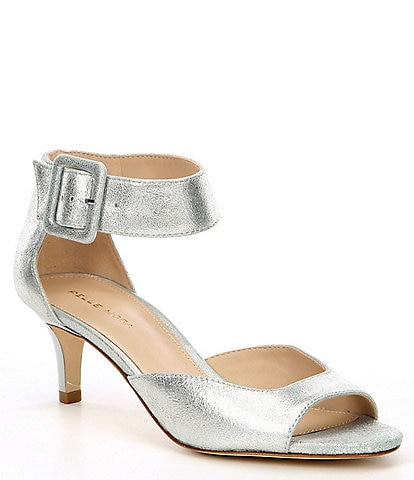 Pelle Moda Berlin Metallic Leather Ankle Strap Kitten-Heel Dress Sandals