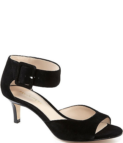 Pelle Moda Berlin Peep-Toe Kitten-Heel Suede Ankle Strap Dress Sandals