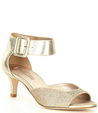 Pelle Moda Berlin6 Metallic Suede Crystal Embellished Dress Sandals