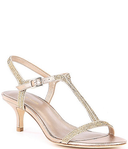 Pelle Moda Fable Rhinestone Jeweled Metallic Suede Dress Sandals