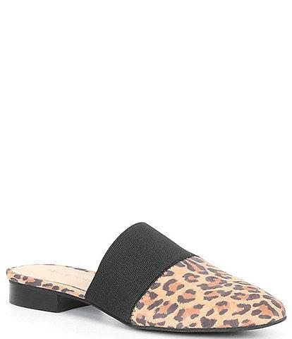 Pelle Moda Lois Leopard Print Suede Mules