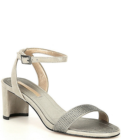 Pelle Moda Moira Metallic Suede Crystal Embellished Ankle Strap Dress Sandals