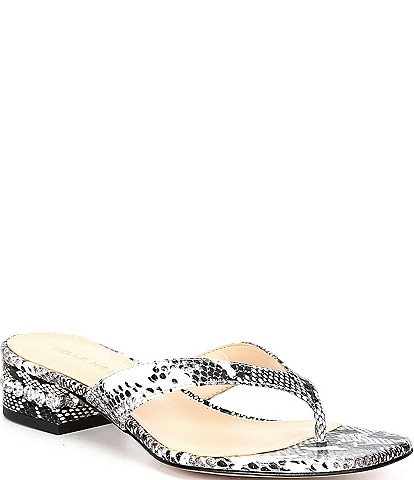 Pelle Moda Niall Snake Embossed Leather Crystal Heel Thong Slides