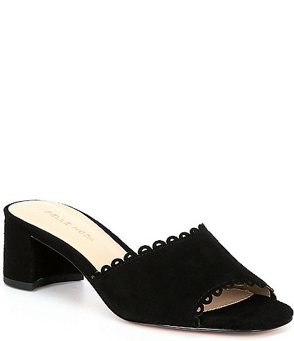 Pelle Moda Rayna Suede Scalloped Block Heel Slides