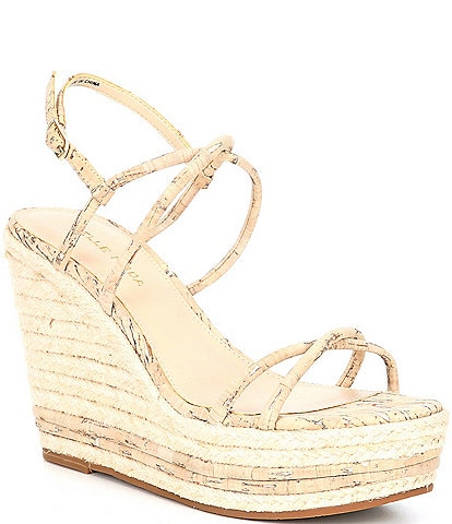 Pelle Moda Rio White Washed Cork Espadrille Wedge Sandals