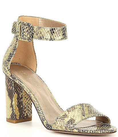 Pelle Moda Zoey Snake Printed Embossed Ankle Strap Dress Sandals