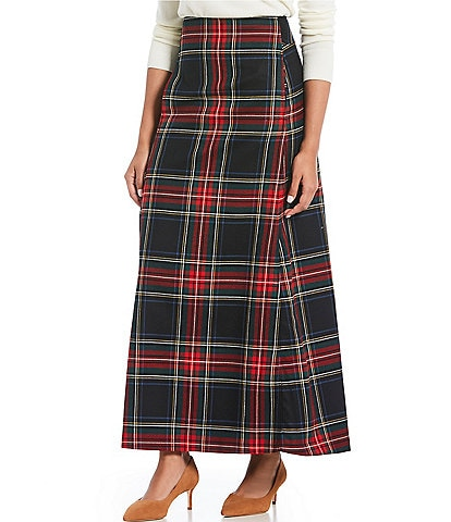Pendleton Black Stewart Plaid Long Wool A-Line Skirt
