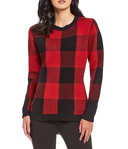 Pendleton Box Plaid Cotton Pullover Sweater