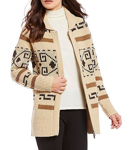 Pendleton Long Westerley Iconic Tribal Pattern Wool Boyfriend Cardigan