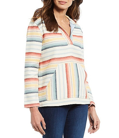 Pendleton Surf Stripe Cotton Chamois Hooded Long Sleeve Pullover