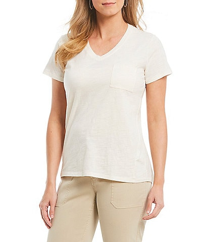 Pendleton V-Neck Pocket Short Sleeve Tee Top