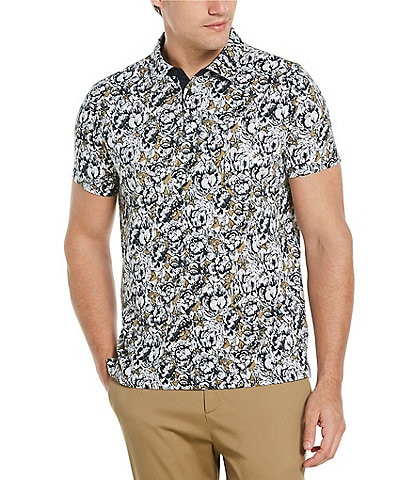 Perry Ellis Abstract Floral Print Short-Sleeve Polo Shirt
