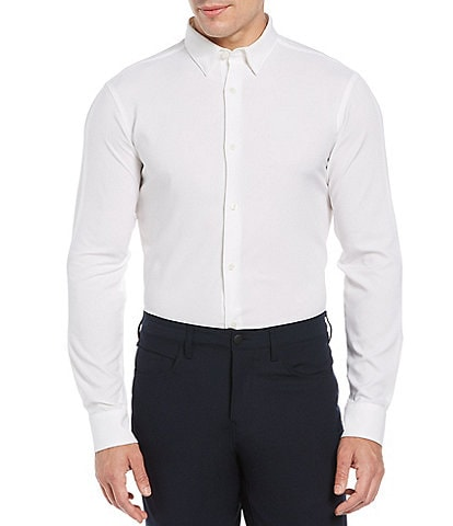 Perry Ellis Big & Tall Motion Crosshatch Performance Stretch Long-Sleeve Woven Shirt