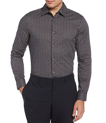 Perry Ellis Big & Tall Diagonal Print Stretch Long-Sleeve Woven Shirt