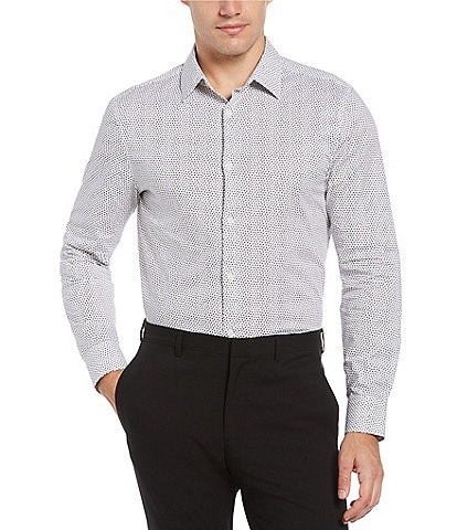 Perry Ellis Big & Tall Ditsy Dot Print Stretch Long-Sleeve Woven Shirt