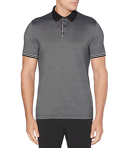Perry Ellis Big & Tall Fine Stripe Short-Sleeve Polo Shirt
