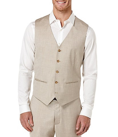 Perry Ellis Big & Tall Herringbone Linen Vest
