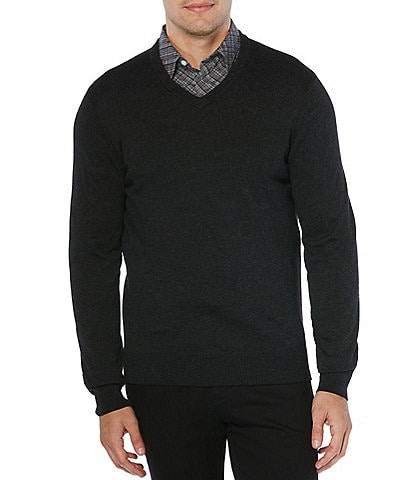 Perry Ellis Big & Tall Long-Sleeve End-On-End V-Neck Sweater