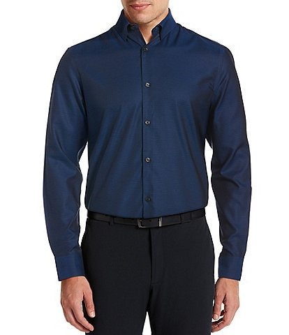 Perry Ellis Big & Tall Slim-Fit Solid Wrinkle-Resistant Water-Repellent Dobby Long-Sleeve Woven Shirt