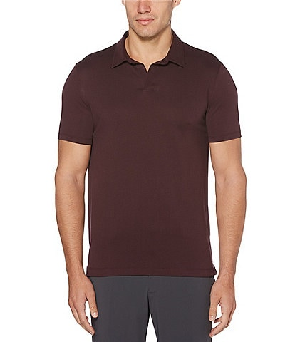 Perry Ellis Big & Tall Solid Open Collar Short-Sleeve Polo Shirt