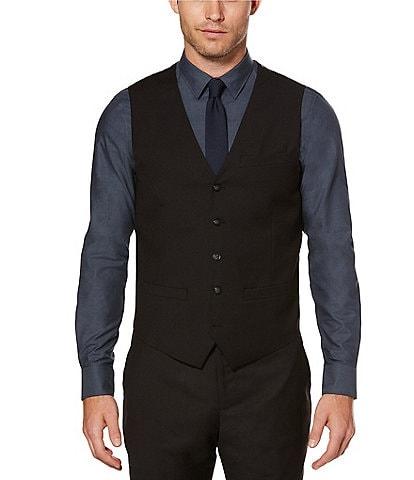 Perry Ellis Big & Tall Solid Sharkskin Suit Vest