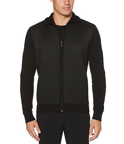 Perry Ellis Cable-Knit Full-Zip Sweater