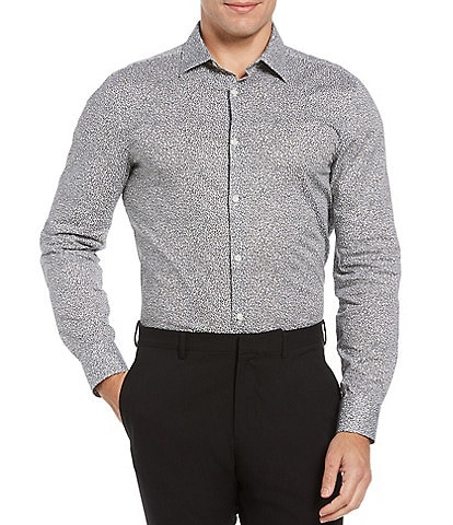 Perry Ellis Clustered Floral Print Stretch Long-Sleeve Woven Shirt