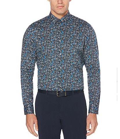 Perry Ellis Floral Paisley Print Stretch Long-Sleeve Woven Shirt