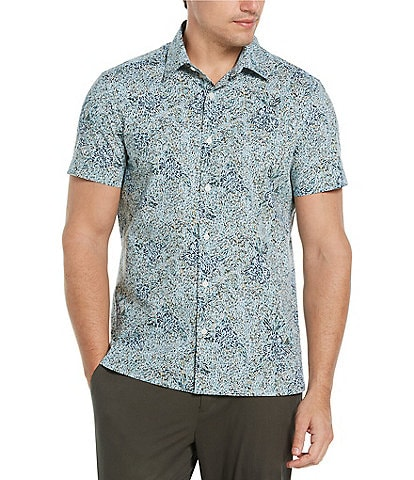 Perry Ellis Multi Forest Stretch Short-Sleeve Woven Shirt