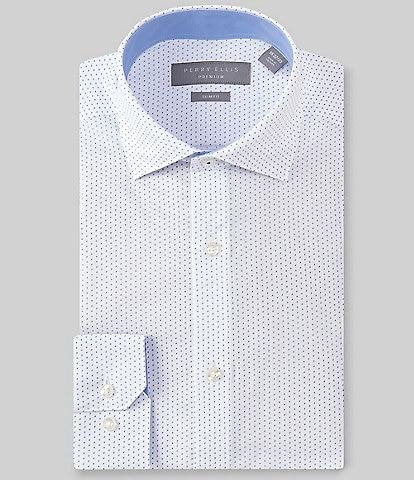 Perry Ellis Premium Non-Iron Slim Fit Spread Collar Printed Dress Shirt