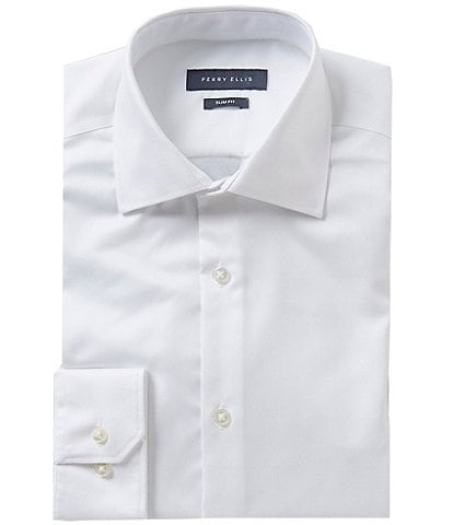 Perry Ellis Premium Non-Iron Slim-Fit Spread-Collar Solid Dress Shirt