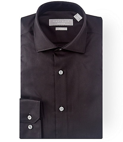 Perry Ellis Premium Non-Iron Slim-Fit Spread-Collar Solid Twill Dress Shirt
