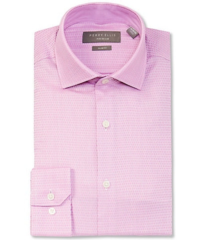 Perry Ellis Premium Non-Iron Slim Fit Spread Collar Pink Oval Dobby Dress Shirt