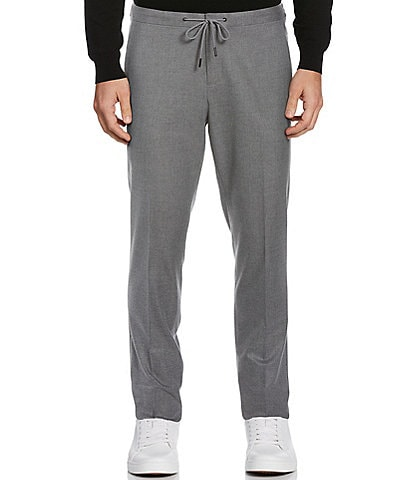 Perry Ellis Slim-Fit Flannel Heathered Flannel Stretch Drawcord Pants