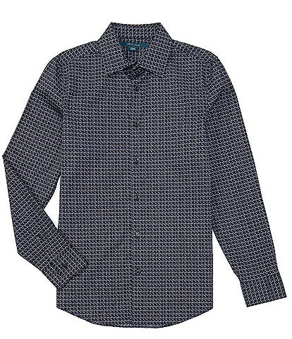 Perry Ellis Slim-Fit Scribble Leaf Print Stretch Long-Sleeve Woven Shirt