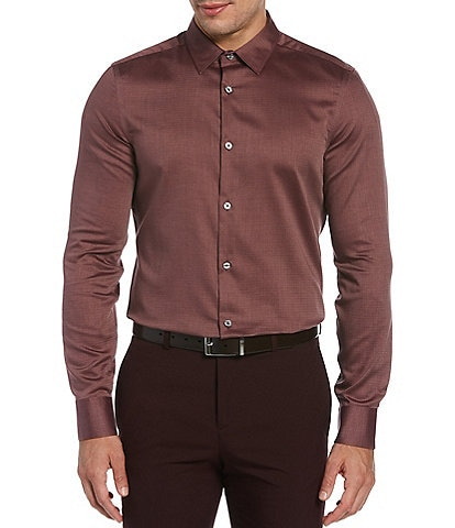Perry Ellis Slim-Fit Solid Dobby Performance Long-Sleeve Woven Shirt