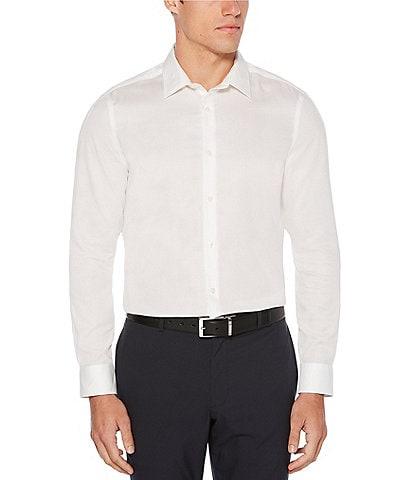 Perry Ellis Slim-Fit Solid Dobby Wrinkle-Resistant Water-Repellent Long-Sleeve Woven Shirt