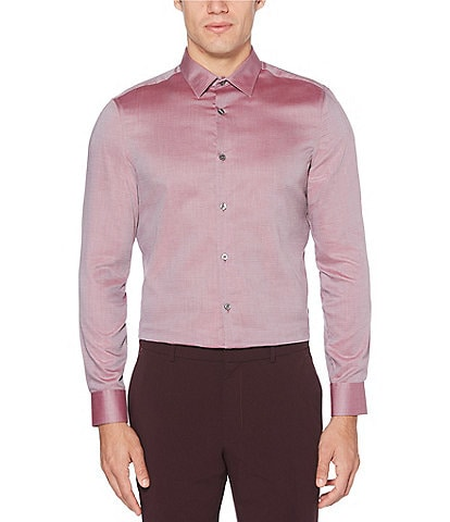 Perry Ellis Slim-Fit Solid Wrinkle-Resistant Water-Repellent Dobby Long-Sleeve Woven Shirt
