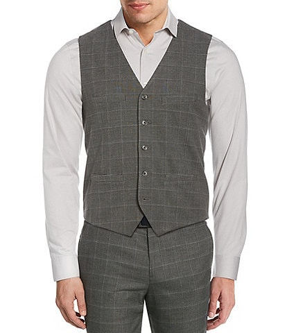 Perry Ellis Slim-Fit Tonal Heathered Plaid Stretch Suit Separates Vest